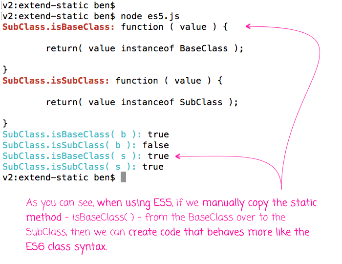 Mimic ES6 class functionality by manually copying static methods in ES5.
