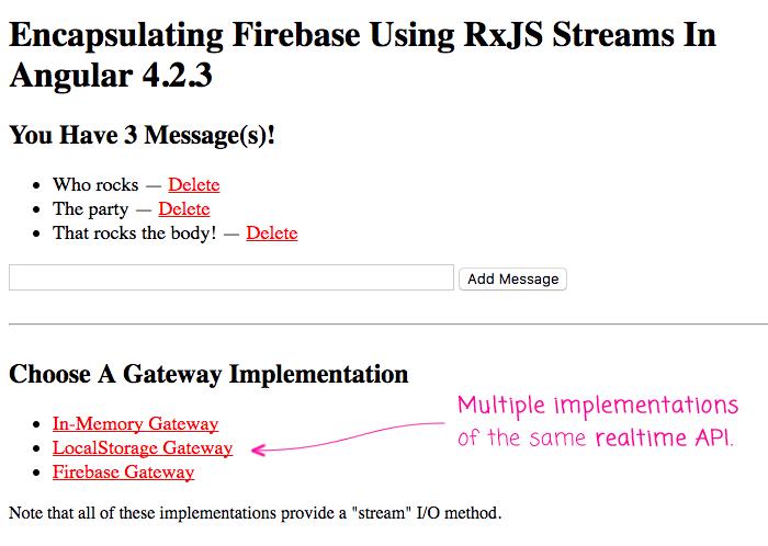 Encapsulating Firebaes using RxJS streams.