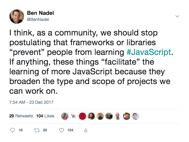 I think, as a community, we should stop postulating that frameworks or libraries