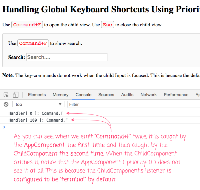 Global keyboard shortcuts service in Angular 5.0.5.