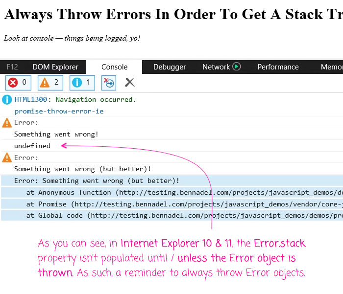IE 10 and 11 only populate the .stack property of an Error object when it's thrown.