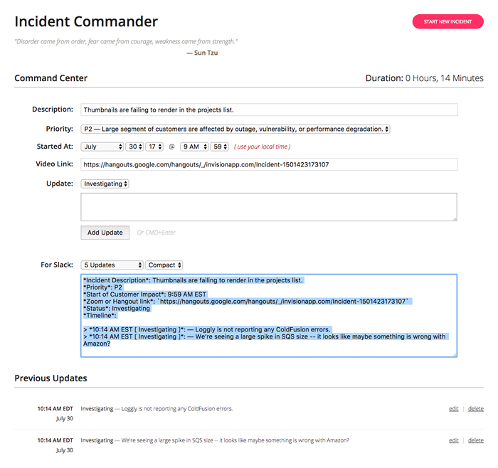 Incident commander Angular 4 application screenshot.