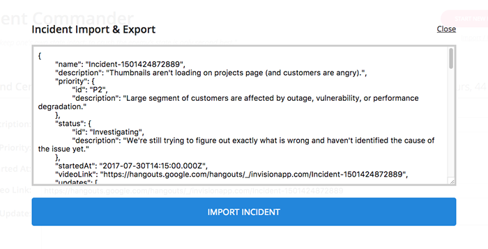 Incident Commander import / export feature.