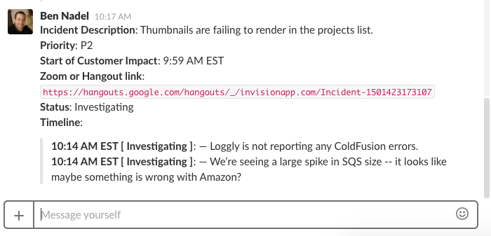 Incident Commander formatted Slack message with auto-corrected EST timezone dates.