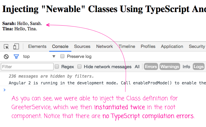 Injecting newable values using TypeScript and Angular 2's dependency-injection container.