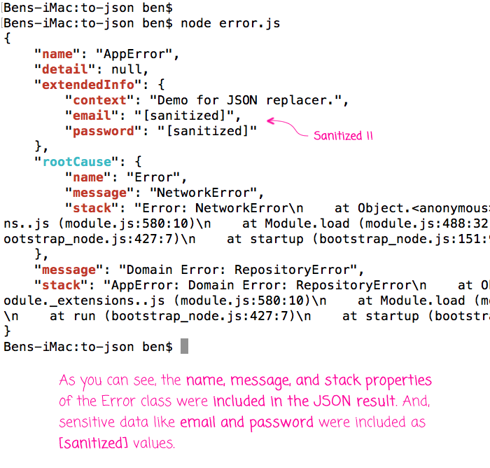 Using JSON.stringify() and the replacer method to faciliate logging of errors.