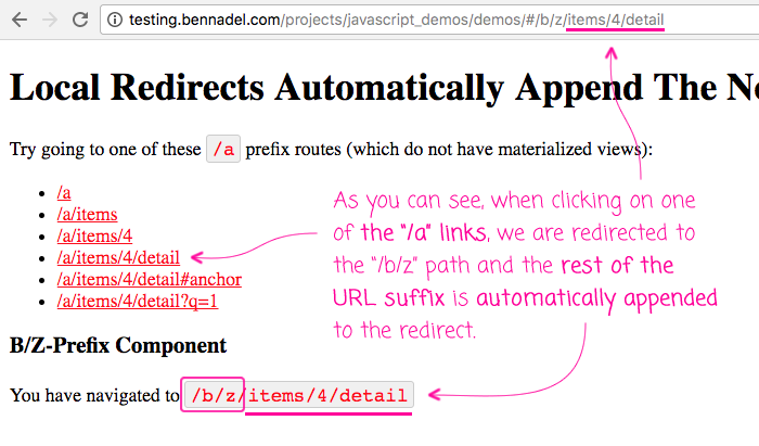 A local redirectTo will automatically append the non-local URL segments to the route redirectTo in Angular 4.4.4.