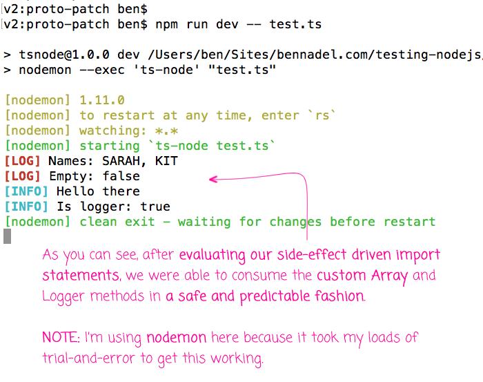Module augmentation using TypeScript and Node.js.