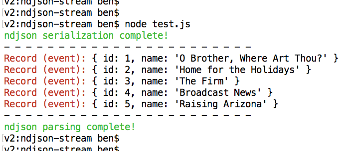 Using ndjson to serialize and parse large collections in Node.js.