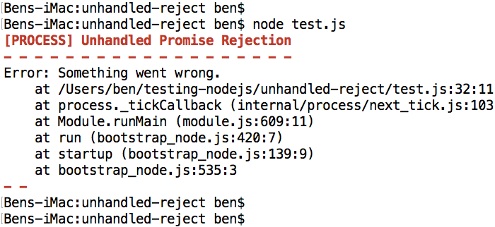 Catching unhandled Promise rejections in Node.js for logging and debugging.