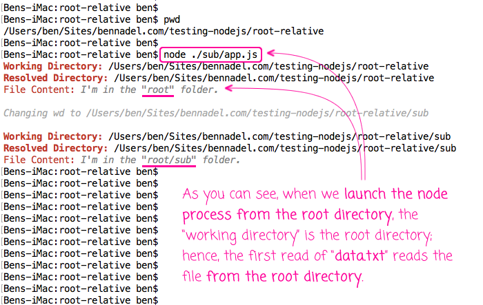 File paths are relative to the working directory in Node.js.