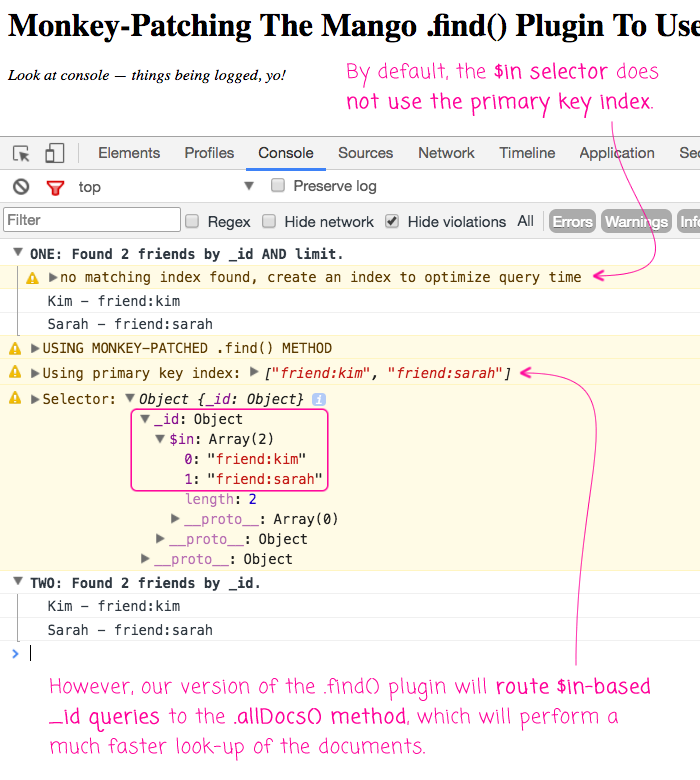 Monkey-patching the PouchDB find() plugin to use allDocs() for _id-based queries.