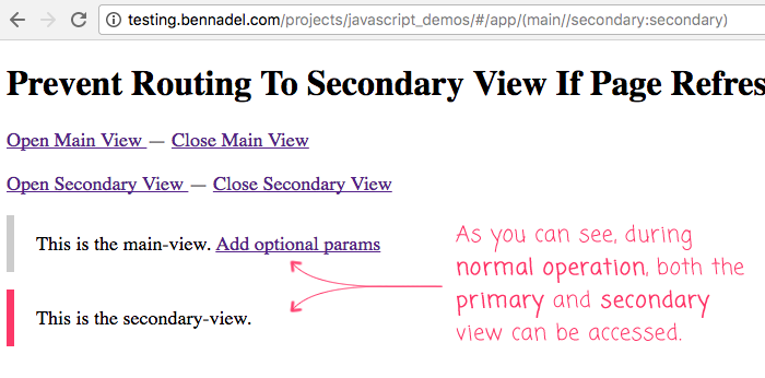 Preventing secondary view rendering on page refresh in Angular 5.0.0.