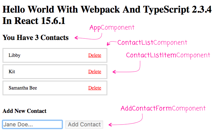 Using React.js with TypeScript and Webpack.