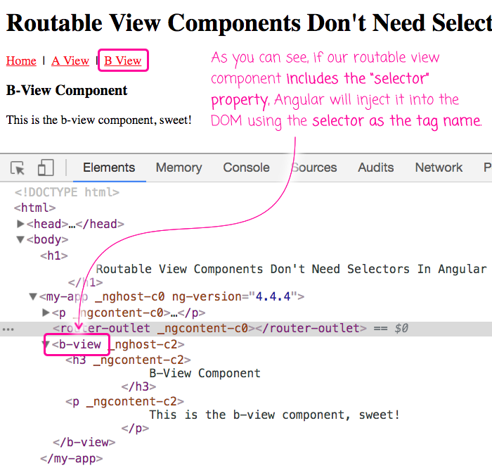 Selectors can be used in routable components, affecting the element tag name.