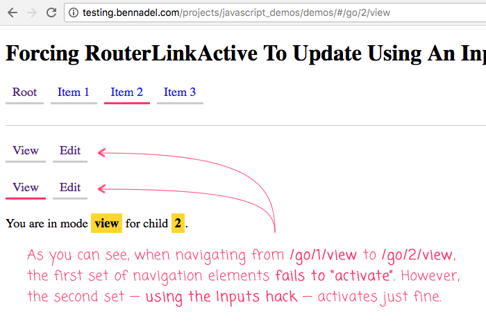 Using RouterLinkActiveOptions input binding, we can force RouterLinkActive to update when the DOM updates in Angular 5.0.2.