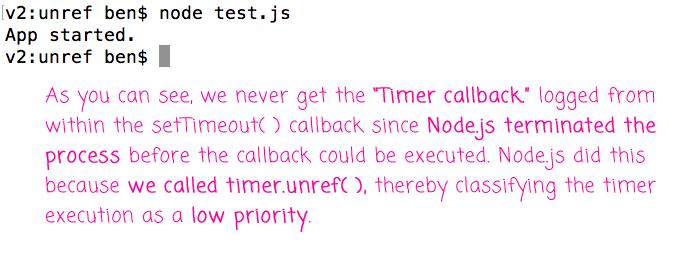 Using Timeout.unref() with setTimeout().