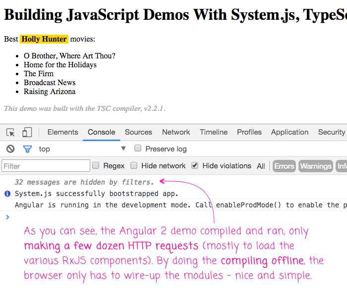 tsc and System.js demo in Angular 2.