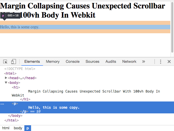 Margin collapsing causing unexpected scrollbars with 100vh body in Webkit.