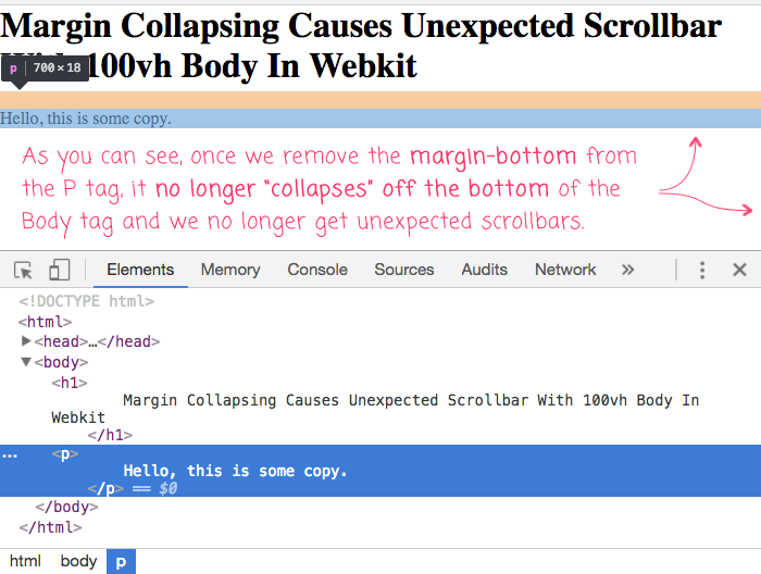 Margin collapsing causing unexpected scrollbars with 100vh body in Webkit. Removing the content margin can help.