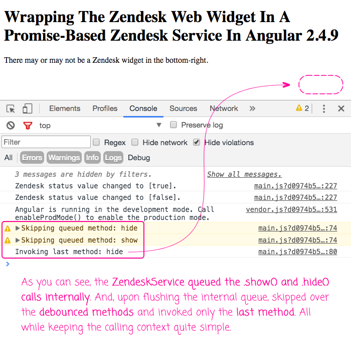 Zendesk Service in Angular 2 encapsulates the complexity of the zEmbed object.