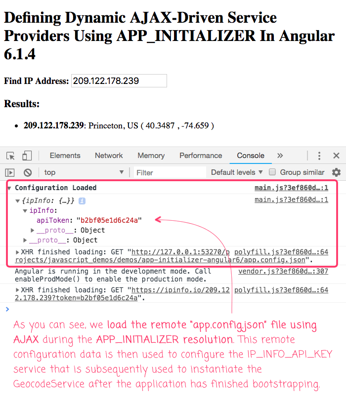 Using the APP_INITIALIZER to load remote configuraiton data in Angular 6.1.4.