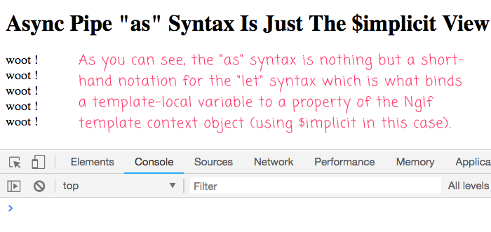 The Async Pipe syntax for