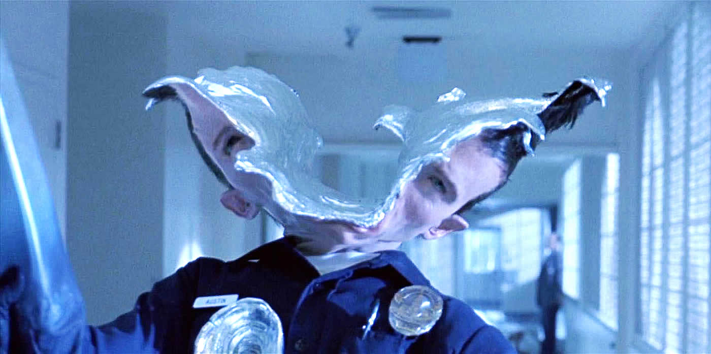 Terminator 2 liquid metal head explosion.