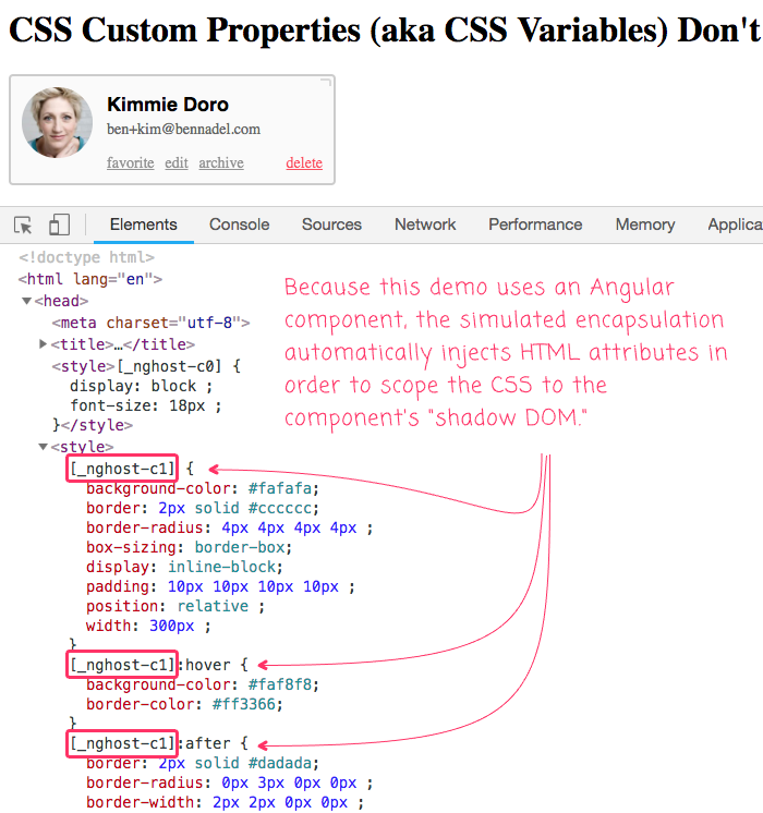 LESS CSS demo in the context of CSS custom properties.