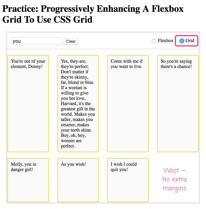 CSS grid based on flexbox, progressively enhanced to use CSS Grid.