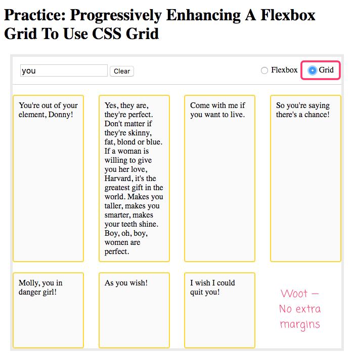 CSS grid based on flexbox, progressively enhanced to use CSS Grid.