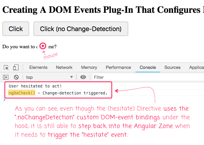 Using the custom dom-events plug-in to refactor the HesitateDirective in Angular 7.1.4.