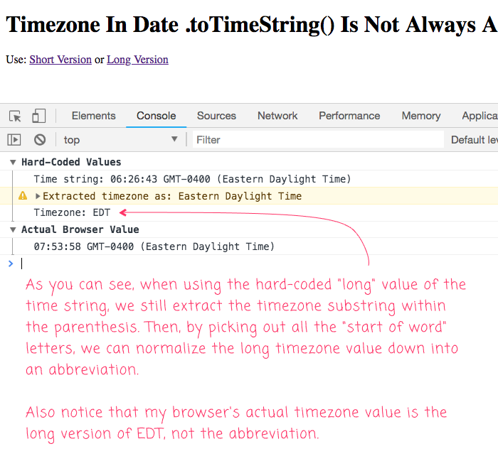 The timezone in Date .toTimeString() function is not always reported as an abbreviation.