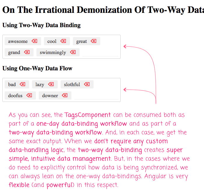 The irrational demonization of two-way data-binding in Angular is unfortunate.