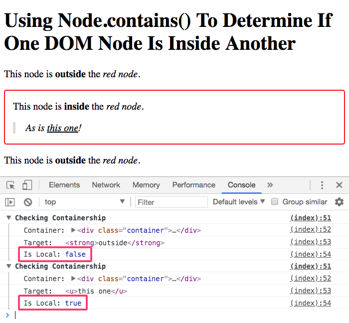 Using the Node.contians() method to check containership.