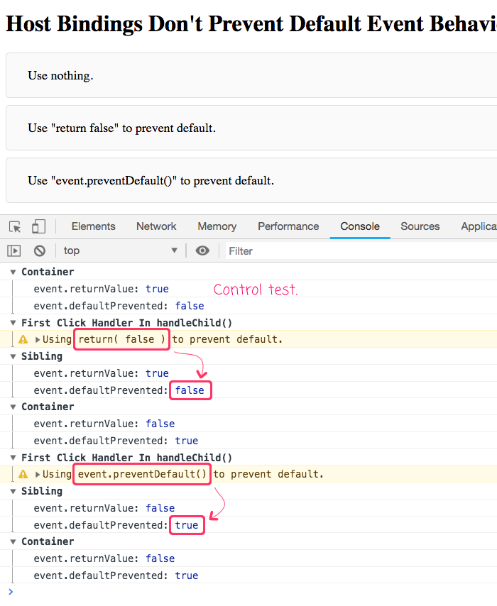 Using Angular to prevent default event behavior in a host binding in Angular 7.1.1.