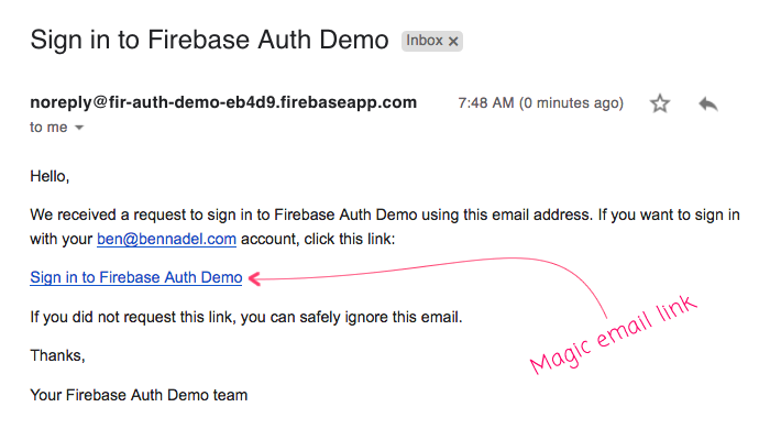 Firebase magic email link email for passwordless authentication in Angular 7.1.2.