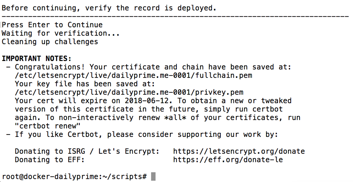 LetsEncrypt authentication challenge confirmation.