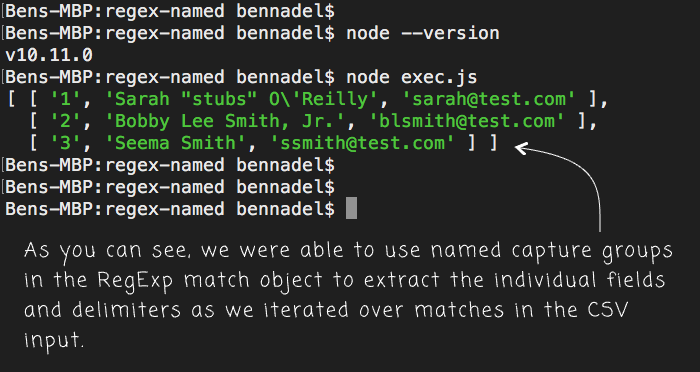 Using named capture groups in RegExp exec() method calls in JavaScript.