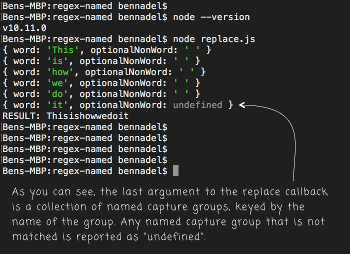 Using named capture groups in RegExp replace() method calls in JavaScript.