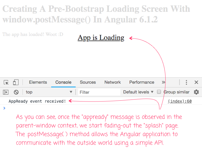 Implementing a pre-bootstraping loading screen using window.postMessage() to communicate across the application boundary.