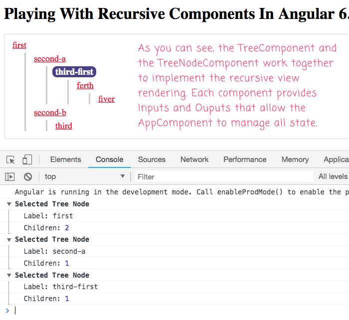 Rendering recursive views using components in Angular 6.1.10.