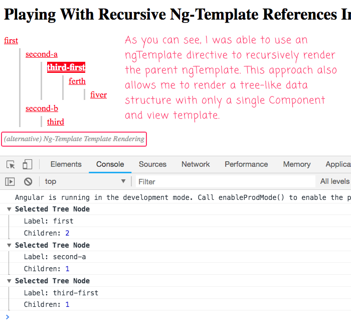We can use ng-template to recrusively render an ng-template view partial in Angular 6.1.10.