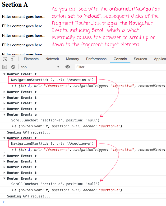 Enabling RouterLink fragment behavior using the OnSameUrlNavigation confirugation in Angular 7.1.3.