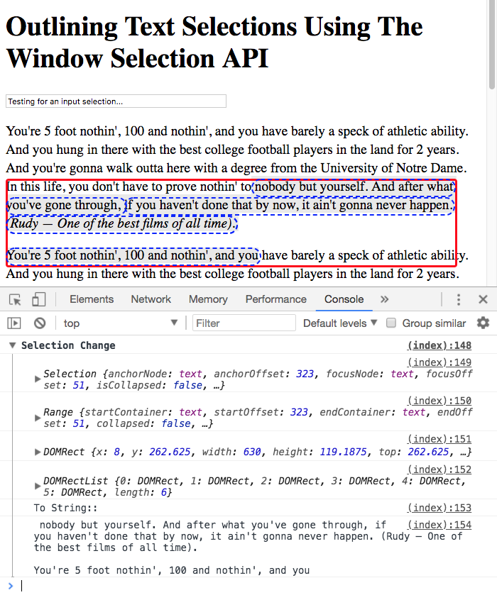 Using the window Selection API to outline the selected text.