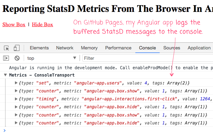 Sending StatsD metrics to the browser console.