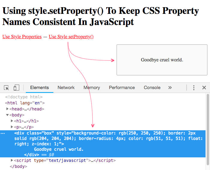Using the .setProperty() method in JavaScript to set CSS property values, consistently with your CSS files.