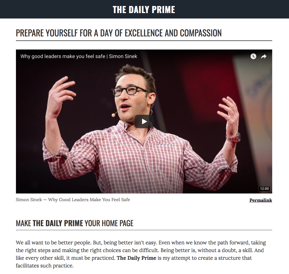 The Daily Prime: Preparing yourself for a day of excellence and compassion.