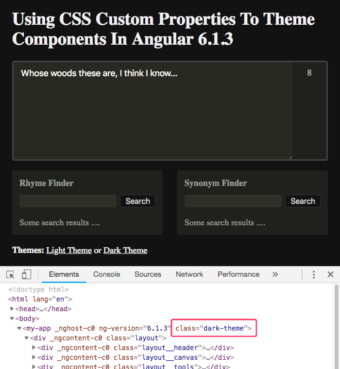 Theming an Angular application with CSS custom properties and PostCSS -- dark theme.