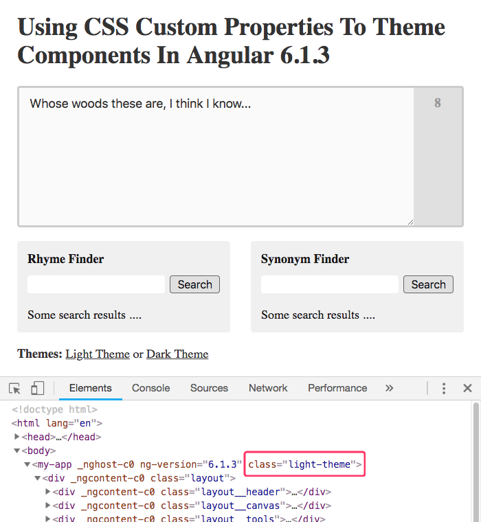 Theming an Angular application with CSS custom properties and PostCSS.